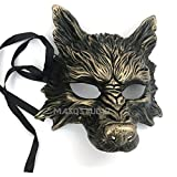 MasqStudio Gold Black Wolf Mask Animal Masquerade Halloween Costume Cosplay Party mask