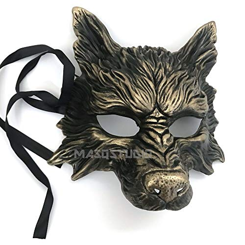 MasqStudio Gold Black Wolf Mask Animal Masquerade Halloween Costume Cosplay Party mask]()