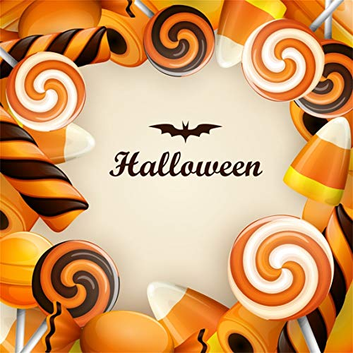 Leyiyi 10x10ft Happy Halloween Backdrop Cartoon Trick or Treat Banner Bats Corn Candy Lollipops Sweet Table Chocolate Photography Background Scary Carnival Night Photo Studio Prop Vinyl Wallpaper]()