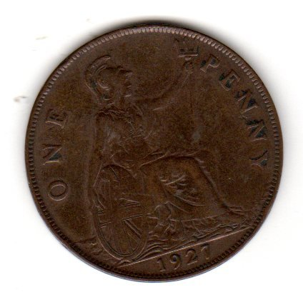 Great Britain (UK) One Penny George V Bronze Coin Dated 1927