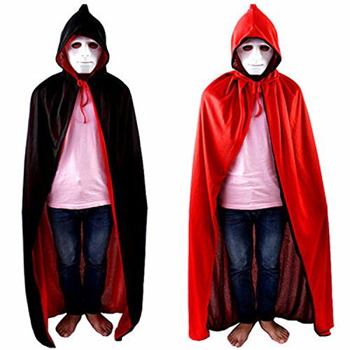 Fille D'halloween Costume (Halloween Costume Cloak Death Cloak Tape Cape Hat Red and Black)