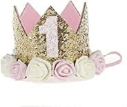 Baby Princess Tiara Crown, Baby Girls/Kids First Birthday Hat Sparkle Gold Flower Style with Artificial Rose F