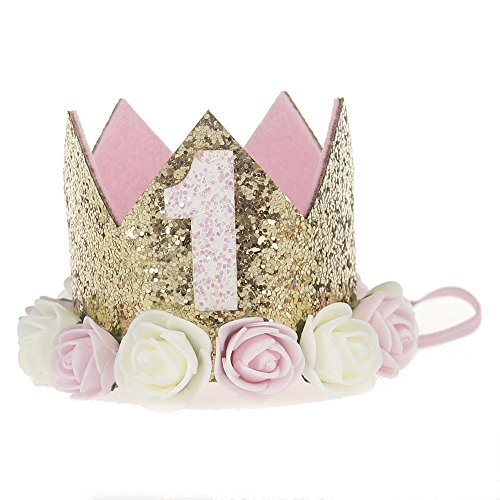 Baby Princess Tiara Crown, Baby Girls/Kids First Birthday Hat Sparkle Gold Flower Style with Artificial Rose Flower (1st Golden - Cone Boy Hat 1st Birthday