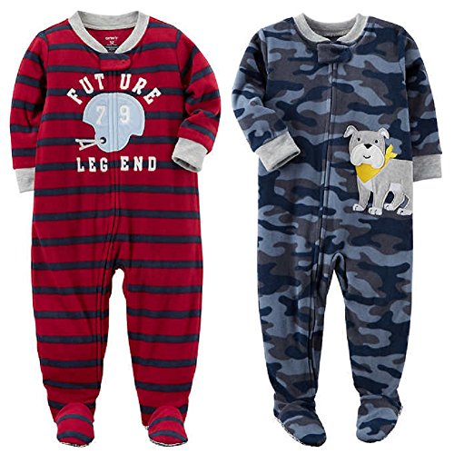Carter's Baby Toddler Boy's 2 Pack Fleece Footed Pajama Sleep and Play Set (Zipper Closure - Red Stripe Future Legend and Blue Camo Bulldog, 18 Months) (Zip Stripe Fleece)