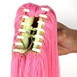 Miss U Hair Long Straight Pink Cosplay Wig Claw Ponytail for Kids and Adult (Pink)