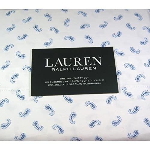 Cheap Lauren 4 Pc. Full Size Paisley Print Sheet Set Blue and White 100% Cotton for cheap