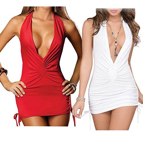 para Rot Noche Mujer Vestido Ostenx weiß qa0zEx