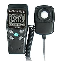 Contempo Views TM-202 Digital LED Light Meter: Measures Light & Illumination Intensity Luminometer Lux Meter Reading 2000