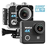 WiMiUS 4K Action Camera HD 20MP 30M Underwater Cameras WiFi Sports Cam 170° Wide Angle 2.0' LCD Screen Dual Rechargeable Batteries Portable Package Waterproof Case Kit of Accessories, L1, Black