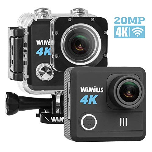 WiMiUS 4K Action Camera HD 20MP 30M Underwater Cameras WiFi Sports Cam 170° Wide Angle 2.0'' LCD Screen Dual Rechargeable Batteries Portable Package Waterproof Case Kit of Accessories, L1, Black by WiMiUS