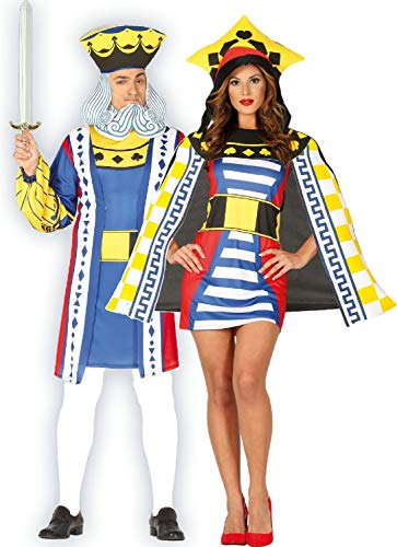 (Couples Ladies and Mens Playing Card Royalty Vegas Fancy Dress Costumes Outfits (Ladies UK 14-16 - Mens)
