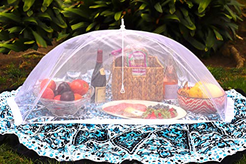 (Set of 2) Zakara 100% Organza Mesh Net Extra Large (49 x 27) Food Cover Tents for Picnics and BBQs to Keep Insects, Bugs, and Flies Away | Comes with Nylon Case for Easy Storage & Travel
