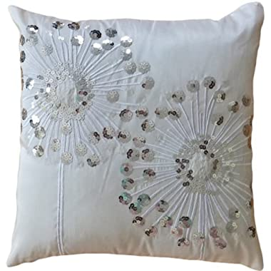 Decorative Silver Sequins Dandelion Floral Throw Pillow COVER 18  White Silver