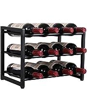 OROPY 12 Fles Metalen Wijnrek, Gratis Staand Wijnopslaghouder, 3-Tier Industriële Stijl Vintage Huisdecoratie voor Kast, Kast & Kast, Zwart