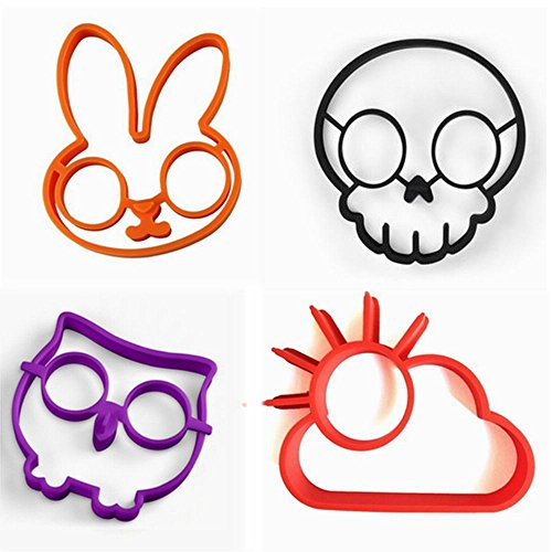 (Set of 4)Silicone Fried Egg Mold Pancake Rings/ Fried Eggs tools , Non Stick Bakeware Accessories Kitchen Tools Halloween breakfastBy Palker (Pancake Art Halloween)