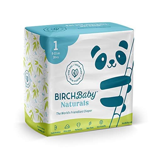 Birch Baby Naturals, The World's Friendliest Diaper for Babies Size 1, 0-11 Lbs. | Truly Bamboo, Ultra-Soft, Perfect Fit, Non-Toxic, Eco-Friendly | 38 Pieces
