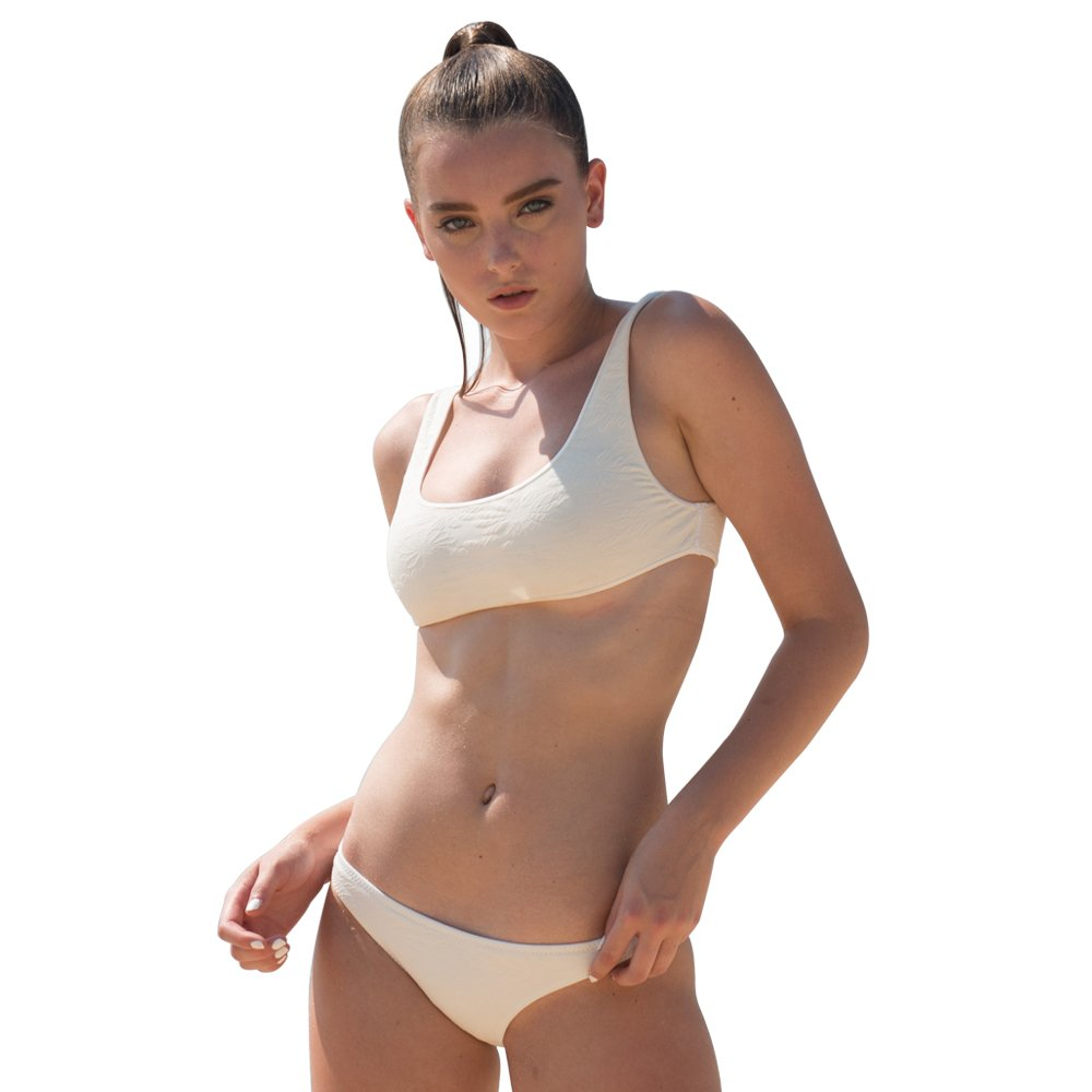 March 19 Two Pieces Bikini Set Swimsuit Sports Style Low Scoop Crop Top High Waisted High Cut Cheeky Bottom (L, WHITE)
