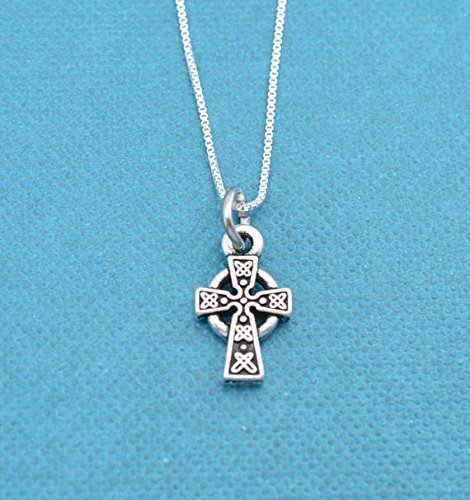 Little girls celtic cross necklace in silver plated pewter on a 14 sterling silver box chain. Christian jewelry. Christian Necklace.