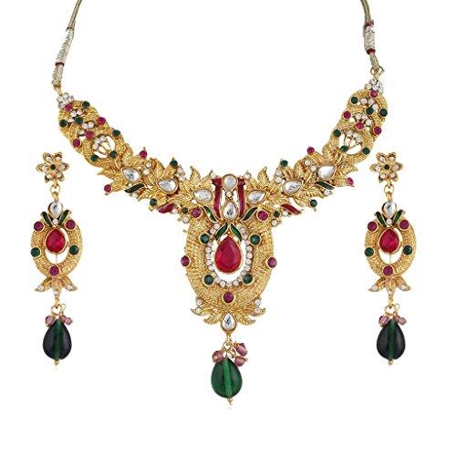 Variation Pink & Green Kundan Gold Plated Necklace Set For Women – VD14205