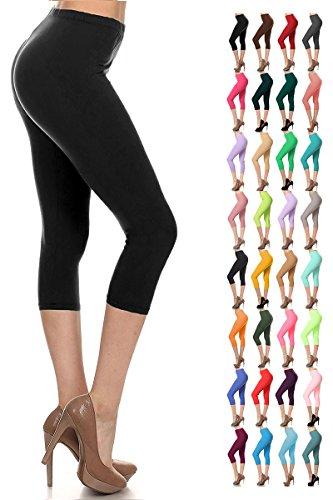 - 51TxHfEUzOL - Leggings Depot Ultra Buttery Soft Basic Extra Plus Solid Capri Leggings