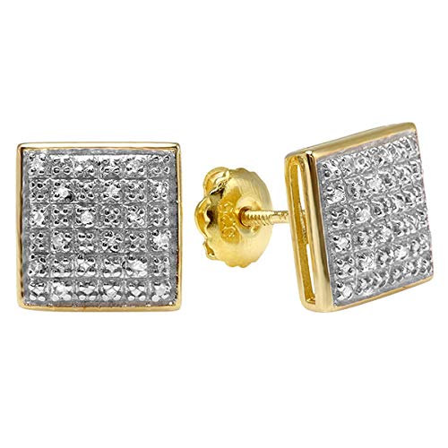 0.25 Carat (ctw) Yellow Gold Plated Sterling Silver Round Diamond Square Mens Stud Earrings 1/4 CT ()
