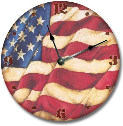 Fancy This American Flag Country Wall Art Clock Novelty Large 10 1 2