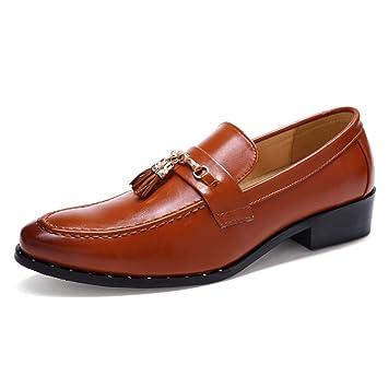 HILOTU Calzado de Vestir Oxford para Hombre - Mocasín Casual con Punta Redonda y Mocasines sin