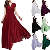 Women's Vintage V-Neck Chiffon Bridesmaid Dress Boho Tulle Long Wedding Pageant Flowy Prom Party Evening Cocktail Maxi Gowns