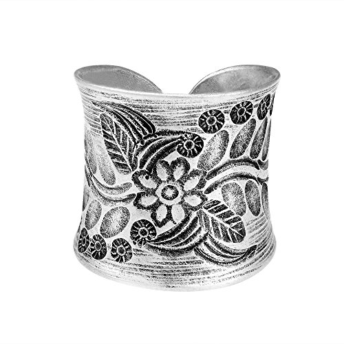 Hill Tribe Rings - AeraVida Tribal Flower Vine Thai Karen Hill Tribe Wrap Adjustable .95 Fine Silver Ring