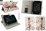 Emartbuy Baby Pink Dual Function Stylus + Universal Range Flower Girl Multi Angle Executive Folio Wallet Case Cover With Card Slots Suitable for i-INN COMMUNICATOR 7-3G 7 Inch Tablet