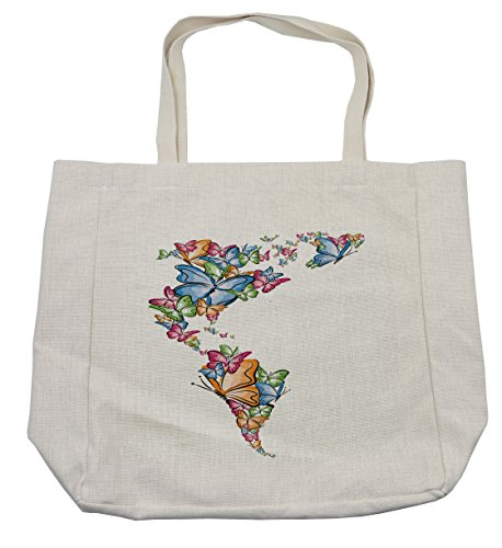 Ambesonne Wanderlust Shopping Bag, North South America World Map Silhouette with Butterfly Illustration, Eco-Friendly Reusable Bag for Groceries Beach Travel School & More, (South America Costume Ideas)