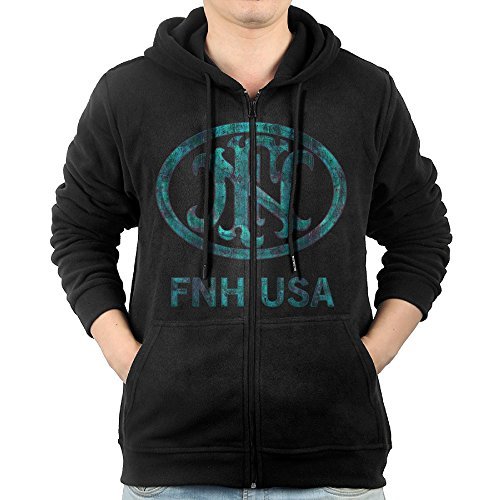 NEW Winter 5GI2P Fn Herstal Gun Hoodie Sweatshirt Full Zip Mens Side Pockets