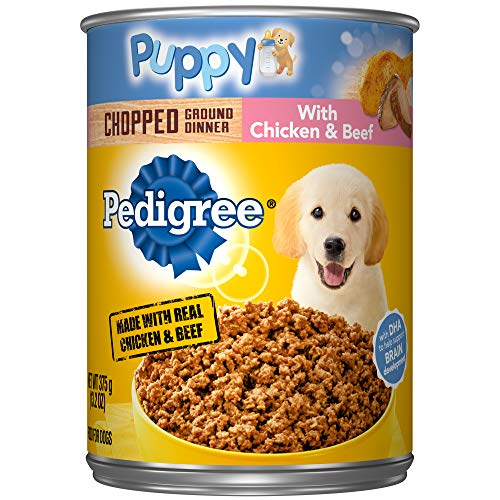 Pedigree Puppy Chopped Ground Dinner With Chicken & Beef Adult Canned Wet Dog Food, (12) 13.2 Oz. Cans (Best Wet Dog Food For Puppies)