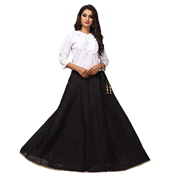 8cbd428c442c5c D'zires Womens Long Skirt with Dori and Latkan Black: Amazon.in ...