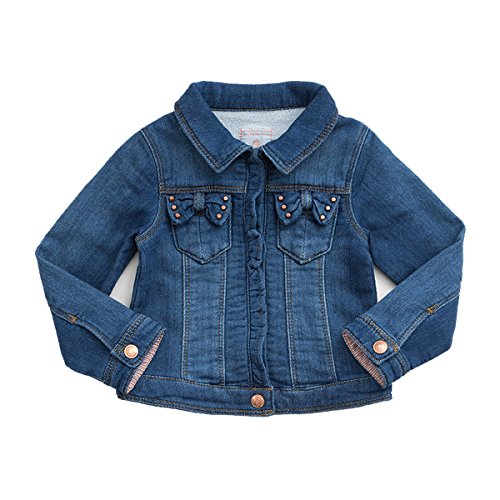 marc janie Baby Toddler Girls' Coat Knit Pre-Washed Denim Jacket Blue 2-3 Years ()