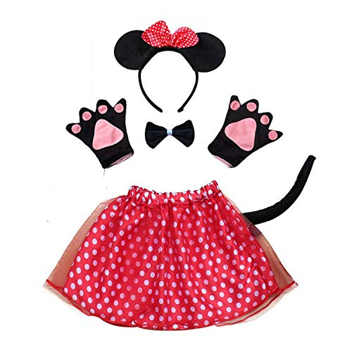 Rabbit Mouse Monkey Bear Wolf Frog Fox Pig Gloves Headband Tutu Halloween Party cdress Cartoon,Mouse 2]()