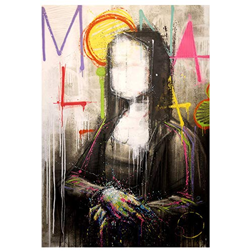 - Faicai Art Abstract Mona Lisa Paintings Colorful Graffiti Street Art Canvas Prints Wall Art Murals Pop Artist Art Posters for Modern Wall Decor Living Room Staircase Pictures Wooden Framed 24