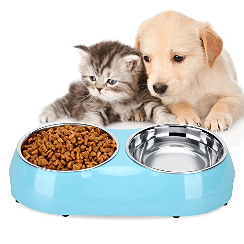 Water Dish Set (Luase Pet Dog Bowl Food Water Dish Feeder Stainless Steel Feeder Pet Dog Double Bowls (Medium, Blue))