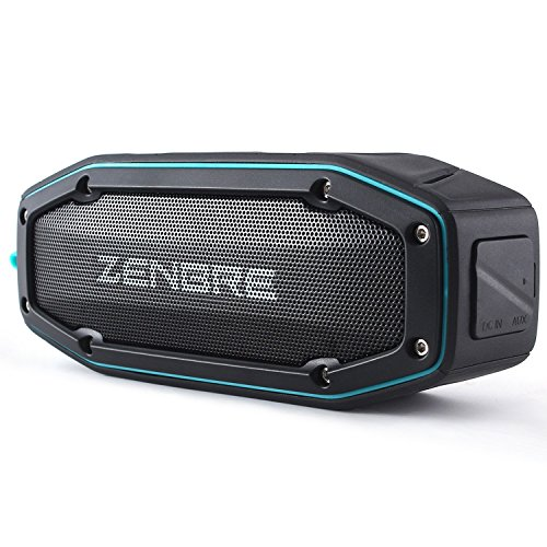 ZENBRE Bluetooth Speakers, D6 Bluetooth 4.1 Waterproof IPX6 with 18h Play-time, 10W Dual Driver with Bass Resonator, Handsfree Calling, Shockproof Portable Speaker(Blue)