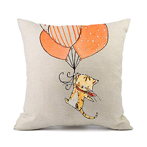 Moyun Cute Cat Balloon Pattern Cotton Linen Cushion Cover Car Sofa Throw Pillow Cases Home Decoration for Children s Room 18x18 inches
