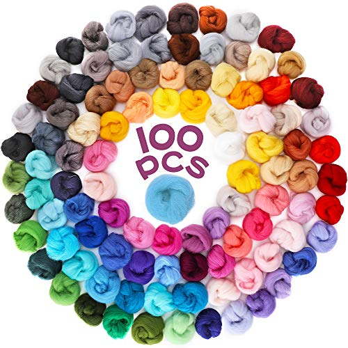 Habbi Needle Felting Wool - 100 Colors Wool Roving for Felting Wool Yarn Roving, Natural Needle Felt Roving for DIY Craft Materials