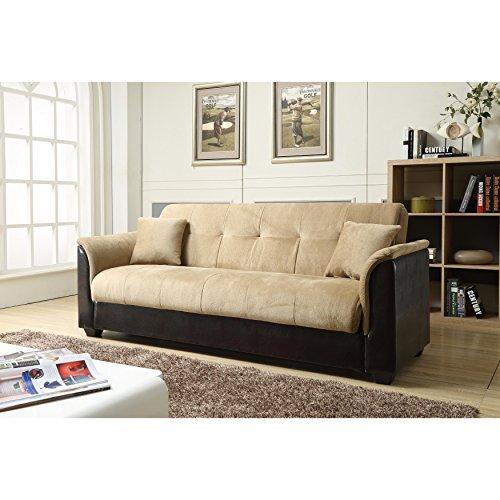 NHI Express Melanie Futon Sofa Bed with Storage, Brown ()