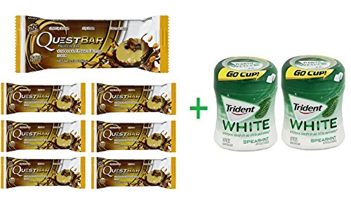 """Quest Bar Chocolate Peanut Butter Bar 2.12 OZ (Pack of 7) + 2 Trident Go Cup Spearmint 1/60 Count (BUNDLE)"""