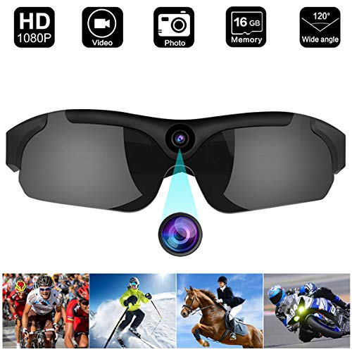 SECURE GUARD Video Sunglasses with 16GB Memory, 1080P Video Recorder Camera with UV Protection Polarized Color Lens, Unisex Sport ()