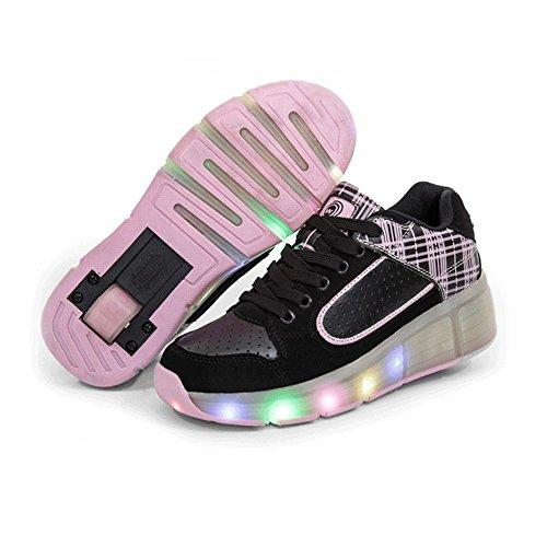 QOUJEILY Athletics Roller Skate Luminous Wheels Shoes For Christmas Gift (4 UK/38 EU, Pink)