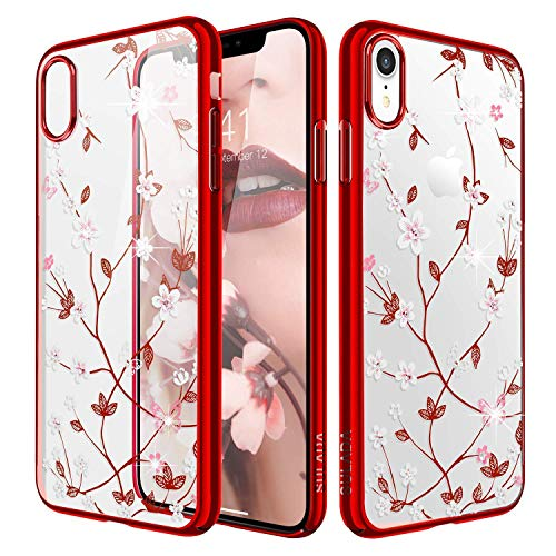(iPhone Xr Case,WATACHE Glitter Diamond Floral Branch Design Clear Back + Electroplated Hard PC Frame Scratch Resistant Slim Case for Apple iPhone Xr (6.1 Inch) -)