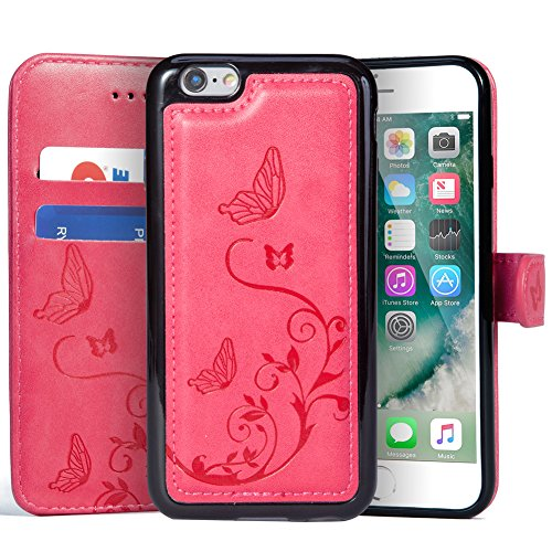 WaterFox Case for iPhone 8 Plus/iPhone 7 Plus, Wallet Leather Case with 2 in 1 Detachable Cover, Women's Vintage Embossed Pattern with 2 Card Slots & Wrist Strap Case - Hot Pink
