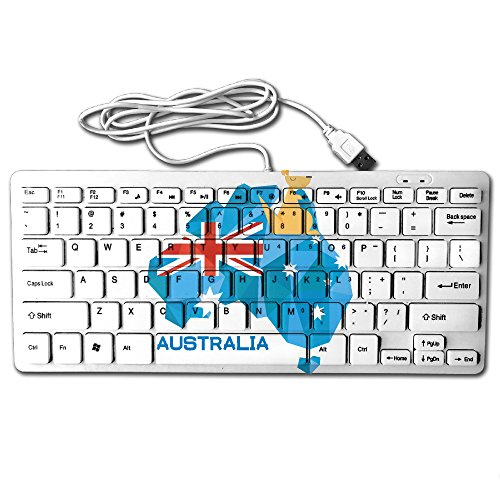 ZHONGRANINC Compact Full Keyboard Stralia Flag Map Australia National Pride Ultra-Thin Fashion Design Keyboard Computer Keyboard