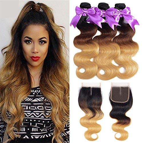 Ombre bundles with closure Brazilian Virgin Hair Body Wave Bundles with 4x4 Middle Part Lace frontal Closure Human Hair Weaves#1b/4/27 Color(20 22 24+18, 1b/4/27)