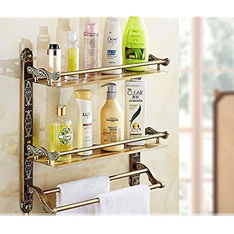 European Antique Folding Towel Rack Toilet Bathroom Towel Rack Shelving Retro Double Wall With Double Pole B